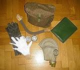 """Gasmaske """"Megaset """" Maske Schutzmaske NVA DDR grau + Umhängetasche Strchtarn +Gummihandschuhe + Ersatzgläser+ Unterziehandschuhe +Schlauch + Filter+ABC-Regen- Poncho , neuwertige Lagerware"""