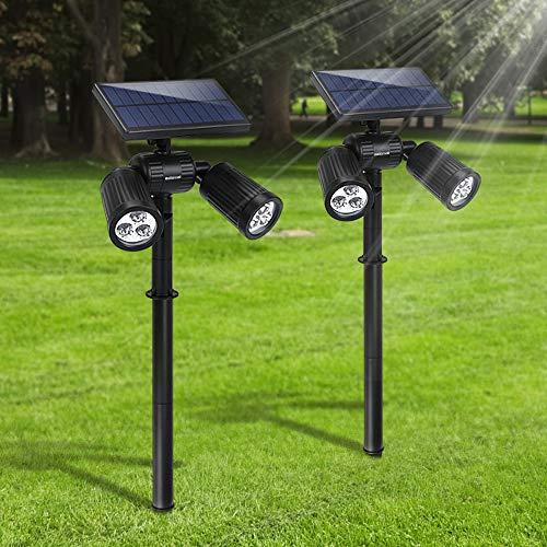 [Upgraded 300 Lumen] Gartenleuchten 6LED Außenbeleuchtung Weißes Helle Solarleuchten Verstellbare Lampen für Boden Wände Wasserdicht Spotlight für Garten Outdoor Landscape Yard Rasen Pathway (2P)