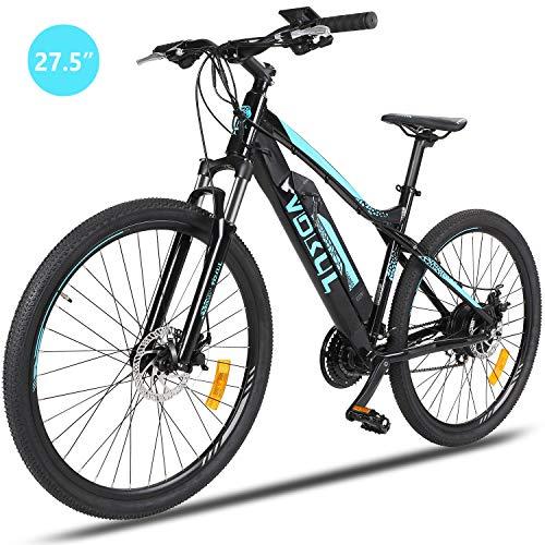 """Vokul 27.5"""" MTB E-bike Mountainbike Elektrofahrräder ohne Seiten-Ständer, mit 24-Gang SHIMANO Schaltung & SAMGSUNG Cells Lithium-Ionen Akku"""