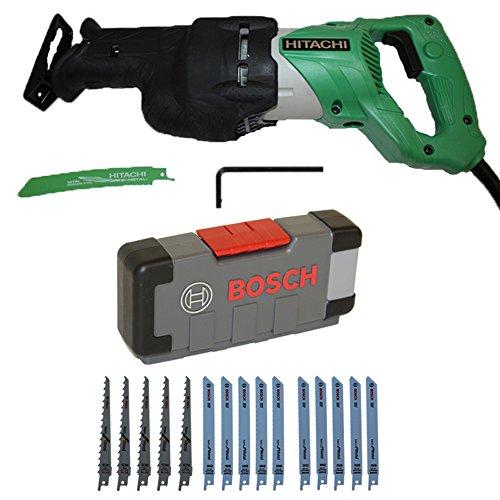 Hitachi CR 13V2 Elektronik-Tigersäge, 300mm, 1010W, Säbelsäge, Reciprosäge, im Koffer 93252256 + Bosch TOUGH BOX Säbelsägeblätter Wood/Metal 15-tlg. (Hitachi Säbelsäge)