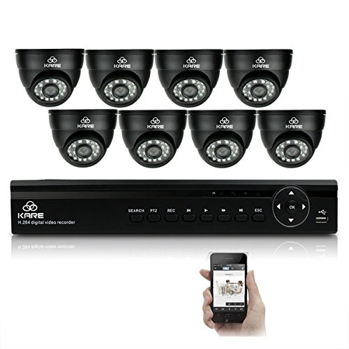 Compare Prices for [Mega-pixel HD] KARE® 8CH CCTV DVR System + Indoor / Outdoor Security Cameras + HDD (720P 1280×720 Mega-Pixels, P2P Scan And Connect, Advanced Night Vision Distance, Email Notification, IP68 Metal Casing Vandal Proof And Waterproof, Hi Resolution Even Better Than 1280TVL) Reviews
