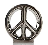 "Hosley 5.5"" Chrome Ceramic Peace Sign / Table Top, Ideal for Party, Wedding, Spa, Aromatherapy, Reiki, Meditation O6."