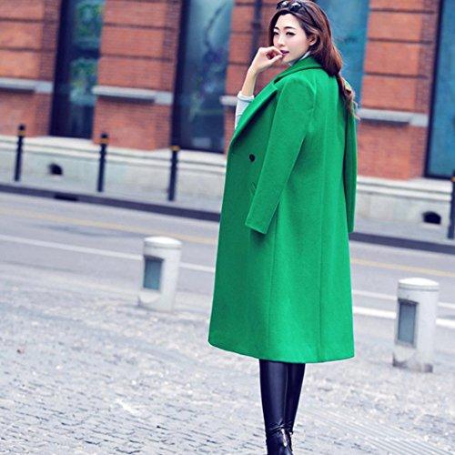 Manteau OHQ Laine De Couleur Pure Womens Fashion Automne Hiver Long Manteau De Laine Pardessus Parka Outwear Cardigan Vert