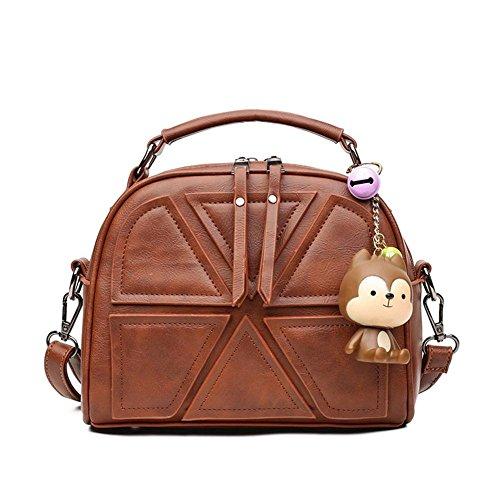 HQYSS Borse donna Cuoio Semplice selvaggio spalla borsa Messenger Bag di grande capienza solido cuciture colore Tote Bag per le donne e Girl , gray brown