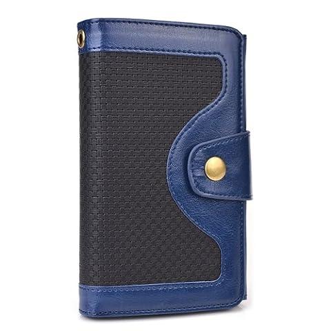 Cooper Cases(TM) Tatami Microsoft Lumia 535 / Dual Sim, 540 Dual Sim Smartphonehülle und Geldbörse in Blau (Zweifarbige Hülle, strukturiertes Webmuster, integrierter Bildschirmschutz, Kartenfächer, Ausweisfach,