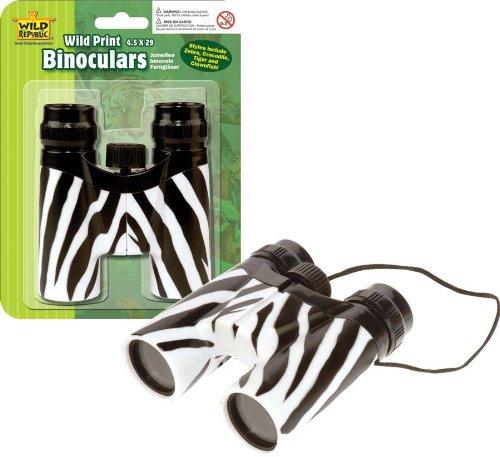 Wild Republic 85174 - Binocular Kinderfernglas Zebra, 12 cm Fokus-band