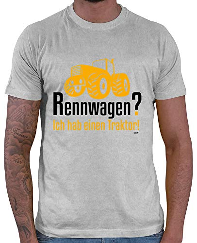 (HARIZ  Herren T-Shirt Rennwagen Ich Habe Einen Traktor Bagger Kinder Traktor Kleinkind Inkl. Geschenk Karte Hell Grau XL)