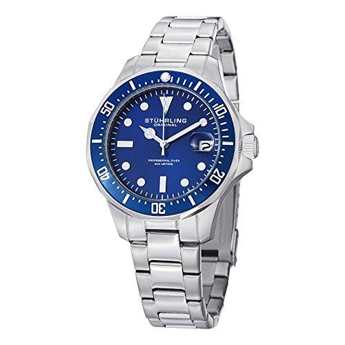 Stuhrling Original - 664.02 - Montre bracelet - Quartz - Affichage - Analogique - Bracelet - Acier inoxydable - Argent - Cadran - Bleu - Homme