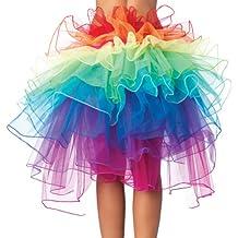 Clubbing tutú capas de organza encaje arco iris falda,HanSemay Burlesque Disfraz Clubbing Tutu Layered Organza Lace Rainbow Falda,Disfraz burlesco.