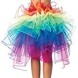 Rainbow Fluffy Tutu Tulle Princess Skirt, Ruffle Bridesmaid Prom Party Pettiskirt, Ballet Dancewear Tie-on Bustle Photo Prop