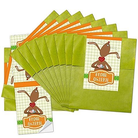 """10 grüne Papiertütchen (9,5 x 14 cm ) und 10 lange Aufkleber 5 x 14,8 cm """"Frohe Ostern"""" mit lustigem Häschen und Herzen"""