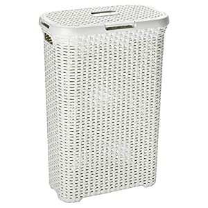 CURVER Rattanoptik 40 Liter Wäschebox, Plastik, Creme, 44.7 x 26.5 x 61.2 cm