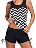 Damen Bikini-Set hibote Patchwork UV Schutz Wellen Push up Tankini mit Badeshorts Two Piece Badeanzug L