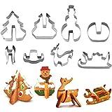 YuamMei 3D Christmas Cookie Cutters Set, Biscotti in Acciaio Inox Stampo da Forno Fai da Te Contiene Albero di Natale, Pupazzo di Neve, Renne e Forme di Slitta (8 Pezzi)