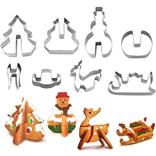YuamMei 3D Weihnachten Ausstechformen Set, Edelstahl Kekse DIY Backform enthalten Weihnachtsbaum, Schneemann, Rentier und Schlitten Formen (8 Stück)