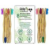Brosse à dents en bambou pour adultes et adolescents   Paquet de 8 brosses à dents biodégradables   Bambou Moso écologique avec poignées ergonomiques et poils de nylon moyens   Par Hello Eco Company