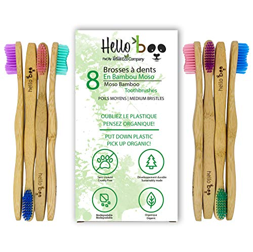 Cepillo de dientes de bambú, paquete de 8 cepillos de dientes biodegradables - bambú Moso orgánico ecológico con asas ergonómicas y cerdas de nailon medio libre de BPA