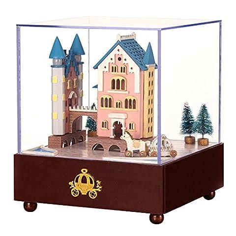 Samber DIY Doll House Wooden Plastic Rotating Castle Wagon