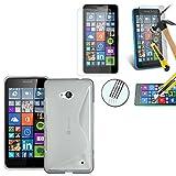 Silikonhülle gel Muster S-Line Microsoft Nokia Lumia 640 LTE/ 640 LTE Dual-SIM-/ 640 Dual-SIM- + 1 Film Bildschirmschutz Hartglas - TRANSPARENT11