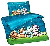 Aminata Kids Schlafmütze-n Lizenz-Kinder-Bettwäsche-Set 100-x-135 cm Baby-Bettwäsche Mond Katze Mädchen Junge-n 100-% Baumwolle Kuschel-Tier-e Einhorn