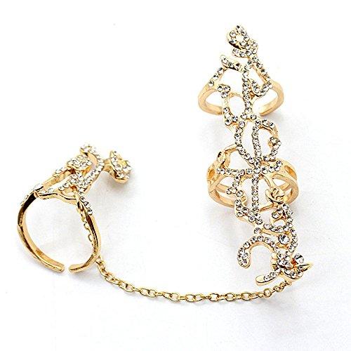 Eastever Hohle Diamant-Rosen-Blumen-Öffnungs-justierbarer Ring-Persönlichkeits-Kettenglied-Ring, Mehrfacher Finger-Stapeln Sie Knöchel-Band-Kristallsatz-Frauen-Art -