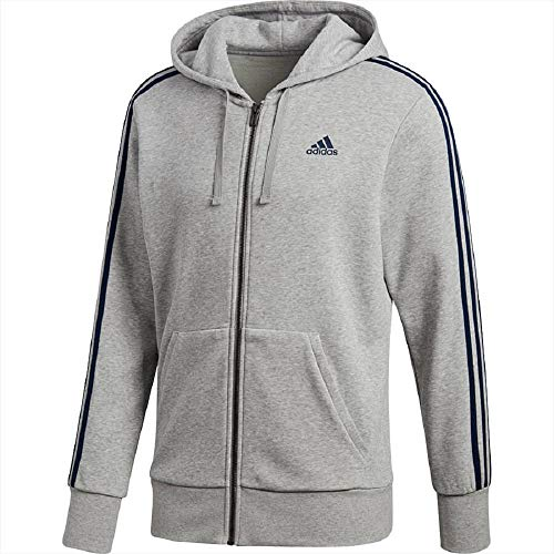 Adidas Ess 3S Fz Ft, Felpa Sportiva con Cappuccio Uomo, Grigio (Medium Grey Heather/Collegiate Navy), Large
