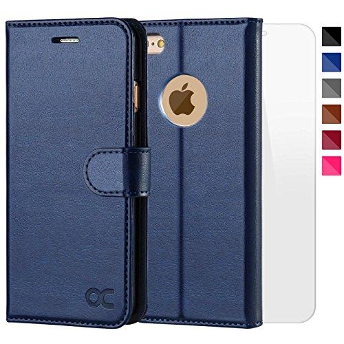 OCASE iPhone 6 Hülle Handyhülle iPhone 6S [ Gratis Panzerglas Schutzfolie ] [Premium Leder] [Standfunktion] [Kartenfach] [Magnetverschluss] Schlanke Leder Brieftasche für Apple iPhone 6/6S Blau (Book-tasche-geldbörse)