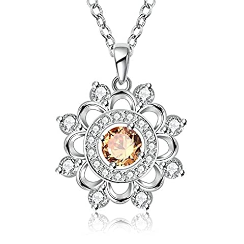 AMDXD Jewelry Plaqué Or Femme Pendentif Collier Champagne Argent Une