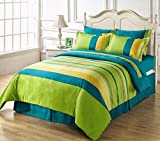 #4: HighLife Ahmedabad Cotton Superior Cotton Single Bedsheet With 1 Pillow Covers - Blue/Green Single Bedsheet