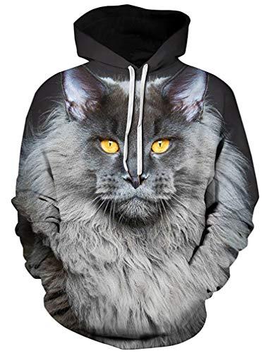 Ocean Plus Herren Aufdruck Kapuzenpullover Tierdruck Galaxis Motiv Sweatshirt Weihnachten Schädel Hoodie Top Streetwear (L/XL (Brustumfang: 114-134CM), Gelbäugige graue Katze)