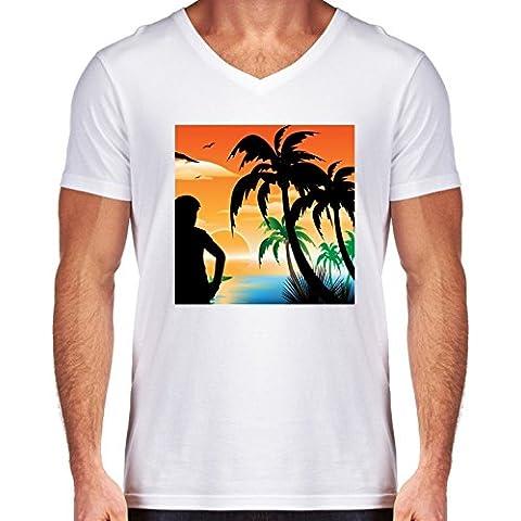 Camiseta V Cuello para Hombre - Vista Sobre El Mar by nicky2342