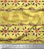 Soimoi Gelb schwere Leinwand Stoff Blatter und Sonnenblumen