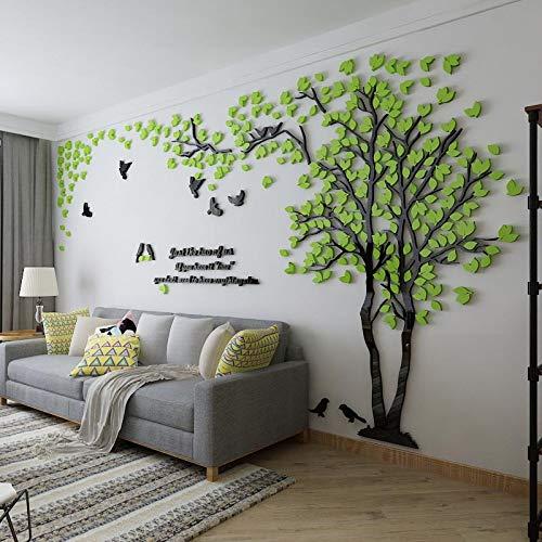 Einfache Dekoration der Stereo Wandaufkleber-Wohnzimmer Kreativen Fernsehhintergrund-Wand des Acryls 3d Hellgrünes Blatt Links groß