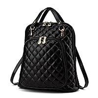 New Women diamond pattern Travel Shoulder Bag Backpack Purse Satchel PU Leather Fashion Personality Black