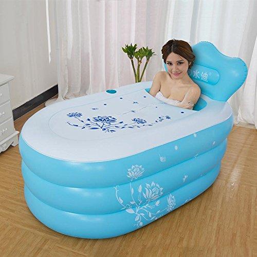 XLHGG Erwachsenen Faltung aufblasbare PVC Wanne verdickt Faltung Badewanne Kunststoff-Eimer-Dusche , blue (Blue Santa Anzug)
