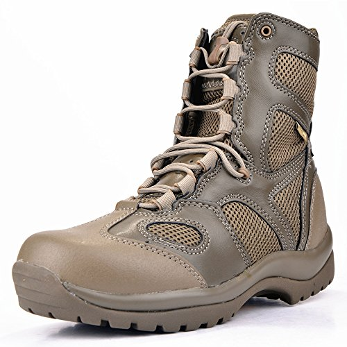 BBYaki High Top Military Boots Tactical Stiefel Männer Berg Combat Boots Outdoor All Terrain Trainingsschuhe Breathable Wear Resistant Bergsteigen Wandern Jagd,Sandy,7UK -