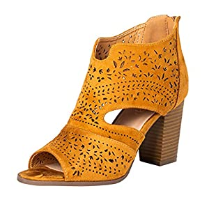 Yourgod Ladies Laser Cutting High Heels Sandals Heels Zipper Fish Mouth Sandals Women's Leisure Shoes Boots Chic Laser-Cut Sandal Yellow