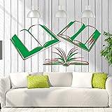 Adesivo murale Libri Sala Lettura Biblioteca Libreria Decor Rimovibile Adesivi murali vivaio Decorazioni per la casa Verde 30x60cm