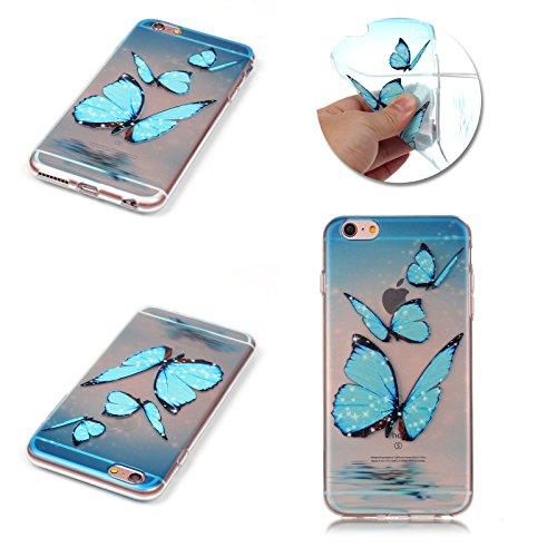 Apple iPhone 7 Schutzhülle, MyGadz® Hülle mit Muster, Handy Case Cover Schutz Tasche für iPhone 7 ultra-slim, Bunt Retro Druck Motiv - Dreamcatcher Butterflies