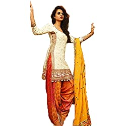 fkart women's pure cotton white embroidered party wear salwar with dupatta (free size)