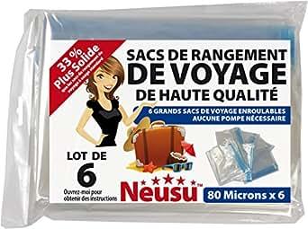 Neusu 6 Sacs De Voyage À Rouler De Grande Taille; Idéal Pour Les Bagages À Mains Et Les Boîtes De Rangement ; 40cm x 60cm