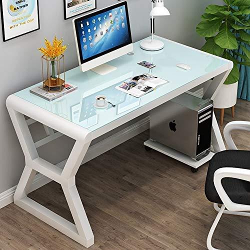 YQ WHJB Glas Klar Computertisch,große Einfache Computer Schreibtisch,100% Metal Frame Büro Schreibtisch Studie Schreiben Laptop Workstation Baugruppe-a 80x60x75cm(31x24x30) (Glas-schreibtisch Büro)