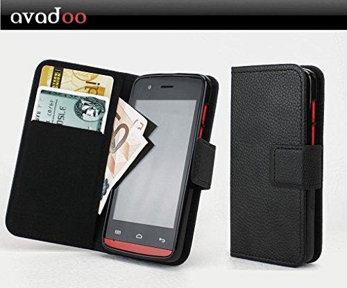 avadoo® Wiko Fizz Flip Case Cover Tasche Schwarz mit Magnetverschluss & Dualnaht als Cover Tasche Hülle