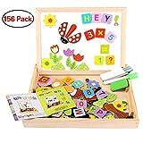 Puzzle di Legno Magnetico, Seacue 156 Pezzi Giocattolo di Legno Bambini con Lavagna a Double Face, Apprendimento Educativo Giochi Creativi Costruzioni per Bambini