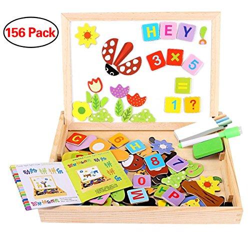 Magnetisches Holzpuzzle, Seacue 156 Stück Doppelseitige Holzpuzzle, Magnetisches Holzspielzeug, Puzzle aus Holz, Lernspielzeug, Tolles Geschenk für Baby Kleinkinder ab 3 Jahren Alt