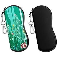 MoKo Funda de Gafas - 2 PZS [Ultra Ligero] Neopreno con Cremallera Almacenaje Lente Suave Sunglasses Case con Clip de Cinturón para Gafas, Bolsa de Llaves, Lápices, Tarjetas - Negro y Cactus