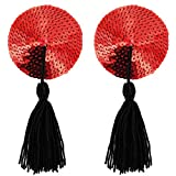 Paris Hollywood Nipple Pasties Pailletten Pailletten Rot/Pompons selbstklebend Wiederverwendbar