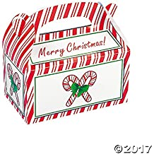 "8 ~ Candy Cane Christmas Treat Boxes ~ Cardboard ~ Approx. 6""l X 6""h (Incl. Handles) X 3.5""w ~ Simple Assembly ~ New by McToy"
