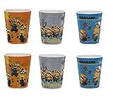 6 x Minions - Trinkbecher - Kinderbecher - Kinder Becher - Becher mit drei verschiedene 3D Motive