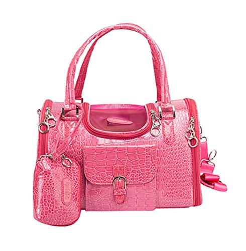 YOUJIA Hund Katze Tragetaschen Handtasche Faux Krokodil Muster Haustier Tasche Tragetasche Handtasche mit Geldbörse S (34 * 22 * 20cm), Rot